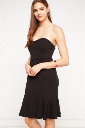 فستان قصير كات بكشكشة - اسود