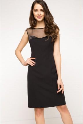 فستان الصدر شيفون - اسود