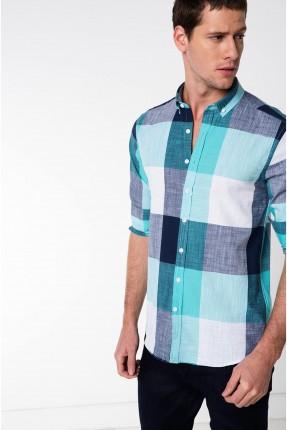 قميص رجالي كارو - تركواز