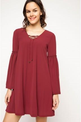 فستان سبور قصير عريض الاكمام - خمري