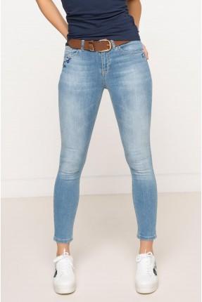 بنطال نسائي جينز مطرز - ازرق