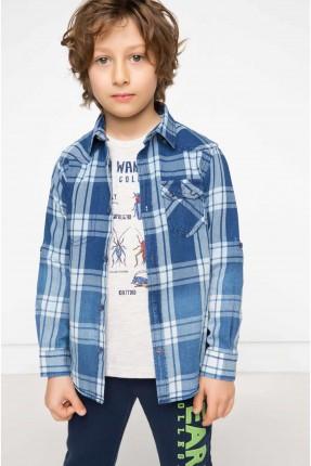 قميص ولادي كارو كم طويل - ازرق