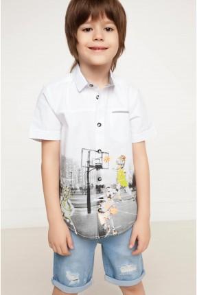 قميص ولادي مع طبعة - ابيض