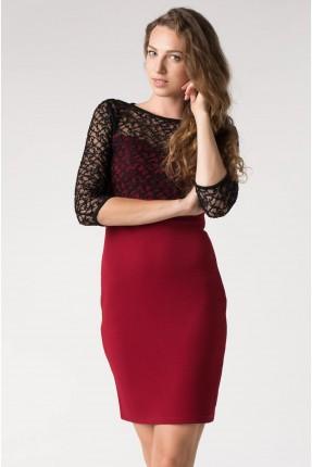 فستان قصير الصدر والاكمام دانتيل - خمري