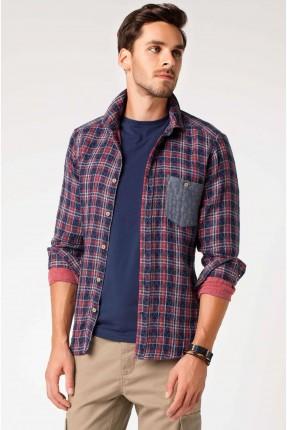 قميص رجالي كارو مع جيب - احمر