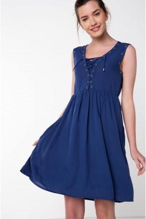 فستان سبور مع ربطات - نيلي