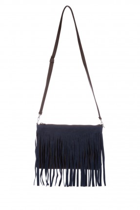 حقيبة نسائية مع كشكشة - ازرق داكن