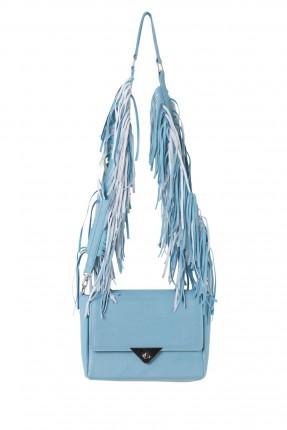 حقيبة نسائية مع كشكشة - ازرق