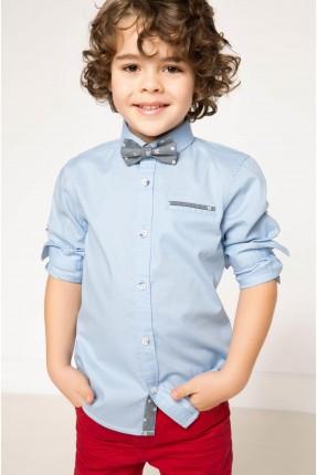 قميص ولادي كم طويل - ازرق