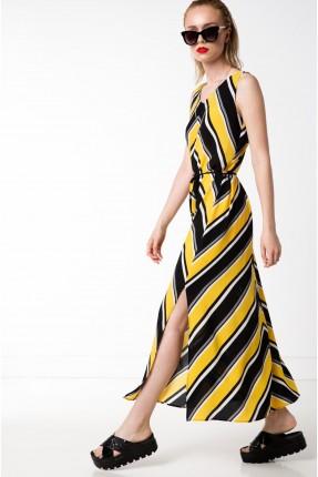 فستان سبور مقلم بحزام - ابيض