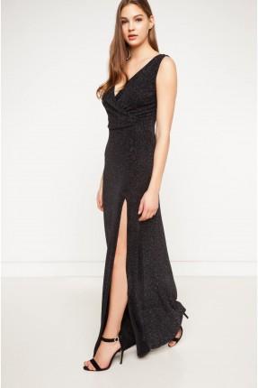 فستان بياقة v مع فتحة طويلة - اسود