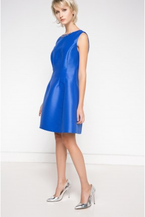 فستان قصير مع عقد على الياقة - ازرق
