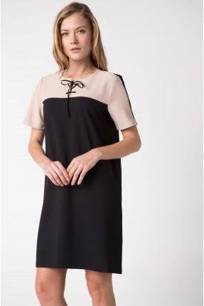 فستان قصير نص كم مع ربطة - اسود