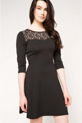 فستان رسمي دانتيل الصدر - اسود
