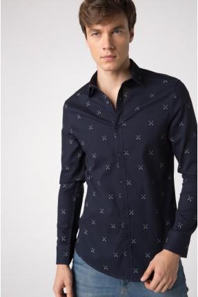 قميص رجالي منقوش × - ازرق نيلي