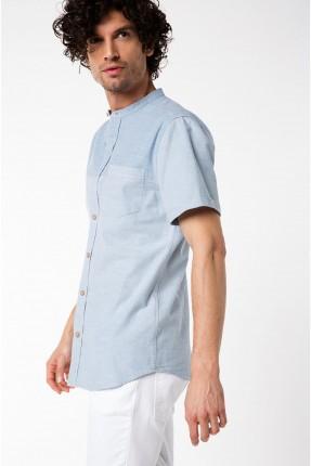 قميص رجالي نصف كم ياقة ملكية - لونين