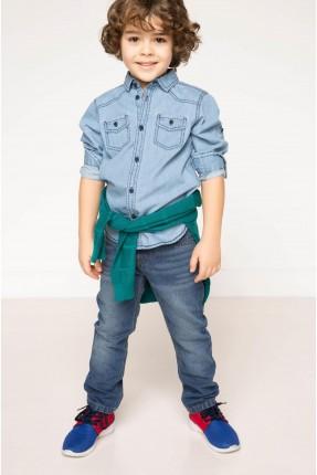 بنطال جينز ولادي - ازرق فاتح