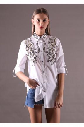 قميص نسائي طويل نقشة عند الصدر - ابيض
