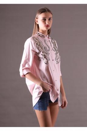 قميص نسائي طويل نقشة عند الصدر - وردي