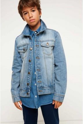 جاكيت جينز ولادي - ازرق