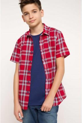 قميص اطفال صبياني كاروهات - احمر