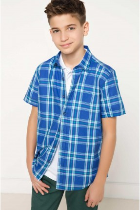 قميص اطفال صبياني كارو - ازرق