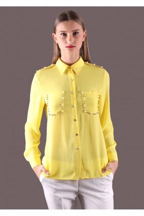 قميص نسائي بجيوب مزينة  - اصفر
