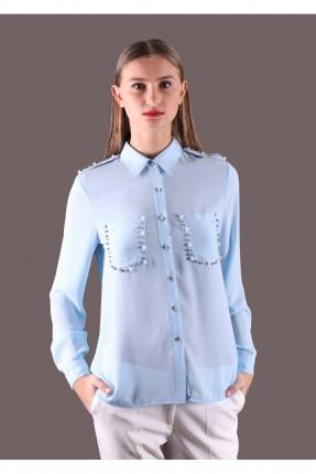قميص نسائي بجيوب مزينة  - ازرق