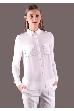 قميص نسائي بجيوب مزينة  - ابيض