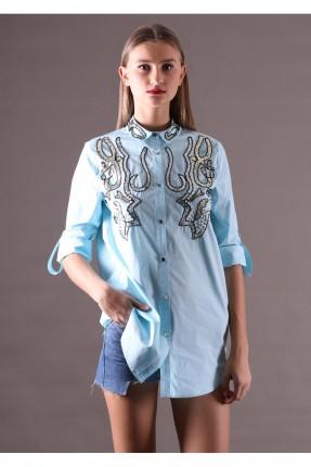 قميص نسائي طويل نقشة عند الصدر -ازرق