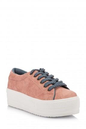 حذاء اطفال بناتي مع رباطات - وردي