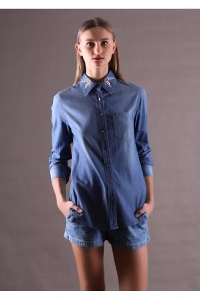 قميص نسائي ياقة مطرزة  - ازرق