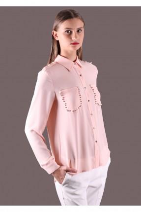 قميص نسائي بجيوب مزينة  - زهر