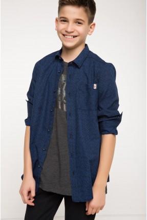 قميص اطفال صبياني - ازرق غامق