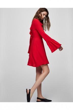 فستان سبور مع كشكشة - احمر