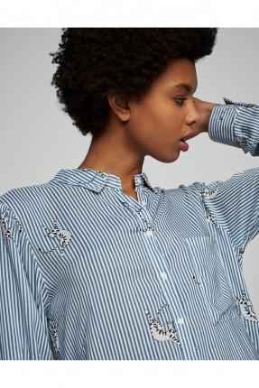 قميص كم طويل مقلم - ازرق