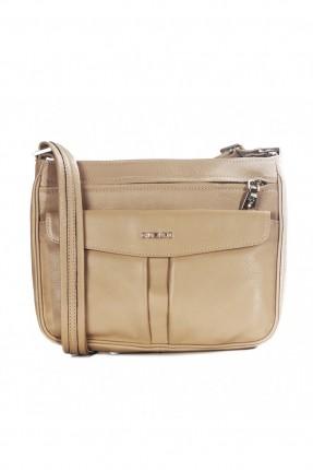 حقيبة نسائية جلد بسحاب - بيج