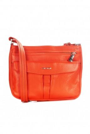 حقيبة نسائية جلد بسحاب - برتقالي