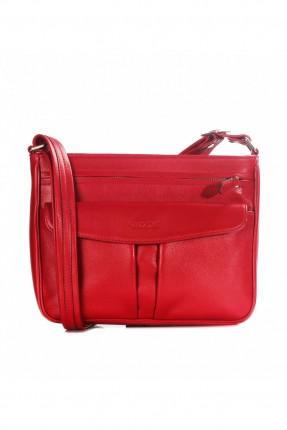 حقيبة نسائية جلد بسحاب - احمر