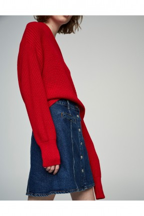تنورة جينز ازرار - ازرق