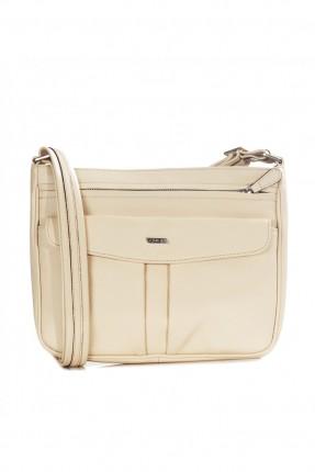 حقيبة نسائية جلد بسحاب - ابيض