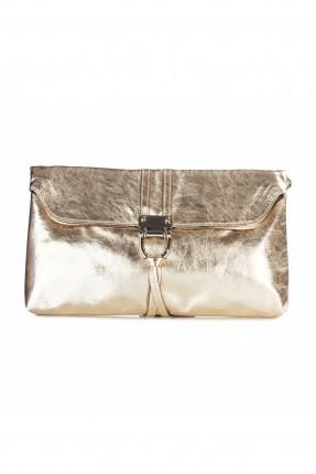 حقيبة نسائية جلد - ذهبي