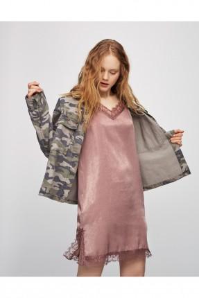 فستان لانجري دانتيل - وردي