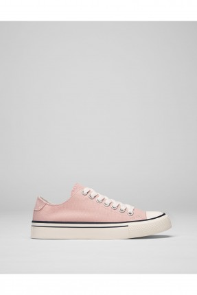 حذاء نسائي مع رباطات - وردي