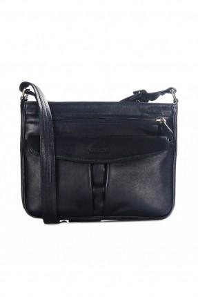 حقيبة نسائية جلد بسحاب - ازرق داكن
