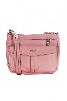 حقيبة نسائية جلد بسحاب - زهري