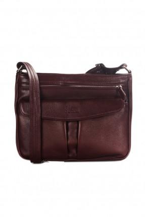 حقيبة نسائية جلد بسحاب - خمري