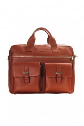 حقيبة يد رجالي جلد معلم - عسلي