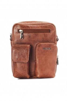 حقيبة يد جلد رجالي جيب 3 مع حزام - بني