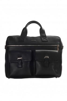 حقيبة يد رجالي جلد لابتوب- اسود